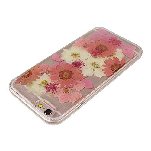 iPhone 6S Plus Silikon Tasche Transparent, iPhone 6 Plus Silikon Hülle Transparent, Transparent Echt Blumen Design, Moon mood® Ultra Slim Thin Hülle Handytasche Schutzhülle für Apple iPhone 6S Plus /  Echt Blumen 8