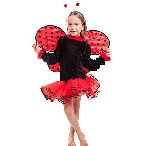 SHANGLY Halloween Marienkäfer Cosplay Kostüme Weihnachtsfest Karneval Sommer Mädchen Verrücktes Kleid Kleider Flügel + Tutu Röcke,S (Halloween-kostüm Ideen Marienkäfer)