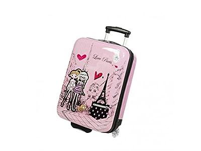 MADISSON - Valise cabine enfant/fille ROSE LOVE PARIS ABS 50X33X20CM