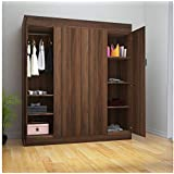 @home by Nilkamal Edward 4 Door Wardrobe (Walnut)