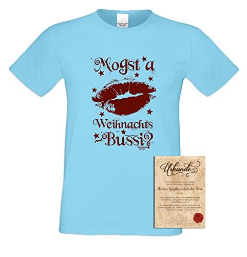 Geschenk-Set :: Mogst a Weihnachts-Bussi Herren Sprüche Fun-T-Shirt und Urkunde als Weihnachtsgeschenk Tolle Geschenk-idee auch in Übergrößen Farbe: hellblau Hellblau
