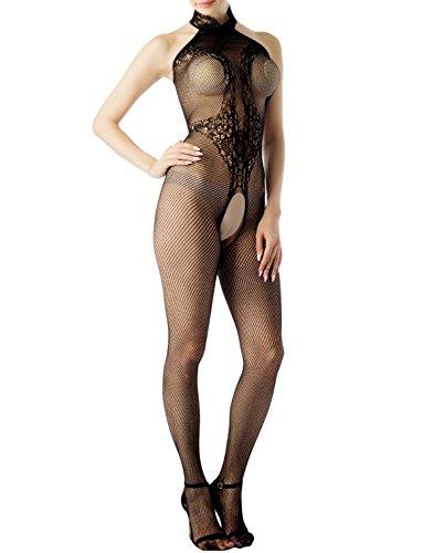 Dbz Outfits (iB-iP Damen Stehkragen Halfter Spitze Netzstrümpfe Ouvert Sh Lange Bodystocking, größe: Einheitsgröße,)