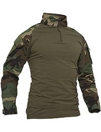 TACVASEN - Camiseta de manga larga con bolsillos para hombre, estilo militar, camuflaje, hombre, color Camuflaje,…