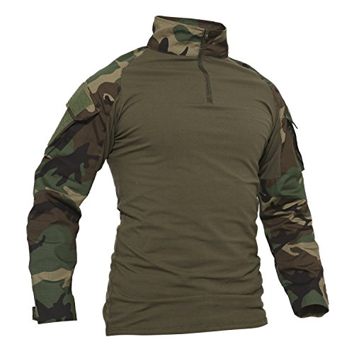 TACVASEN Camo Shirt Herren Outdoor Angeln Hemd Baumwoll Camouflage Cotton Sport T-Shirt Langarm Draussen Fishing - Orange Mann Kostüm