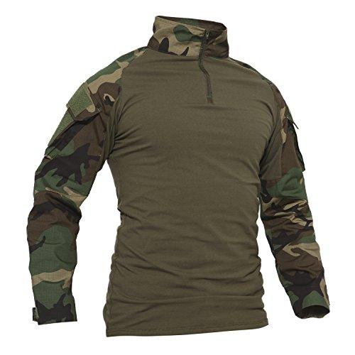 Kostüm Shirt Russisch - TACVASEN Camo Shirt Herren Outdoor Angeln Hemd Baumwoll Camouflage Cotton Sport T-Shirt Langarm Draussen Fishing Shirts