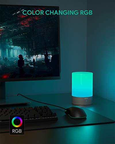 AUKEY Lámpara de Mesa Recargable Lamparas sin Cables con Luz Blanca Cálida Regulable & Color-Cambiante RGB, Lámpara Táctil con una Illuminación de 360 grados para Habitaciones