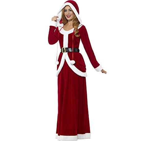 Smiffys, Damen Deluxe Miss Santa Claus Kostüm, Kleid mit Kapuze und Gürtel, Größe: 48-50(XL), 48203 (Zombie Santa Claus Kostüm)