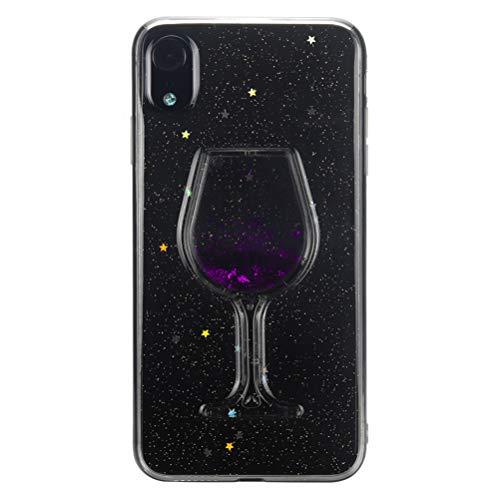 iplusmile Kreative Weinglas Quicksand Telefon Fall Weiche Anti-Scratch Shockproof Telefonabdeckung PC Schutzhülle für iPhone XR (Lila) Lila Iphone Fall