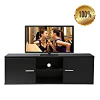 Dripex Modern Small Black TV Unit, TV Stand 120 x 38 x 40 cm Storage Cabinet Ideal for Home Office or More - Black