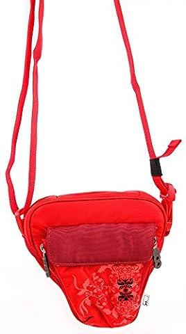 DURAGADGET Sac rouge motif fleurs pour Nikon Coolpix P610 et L840, Canon PowerShot SX410 IS et Pentax XG-1 appareils photo Bridge et petits accessoires + bandoulière
