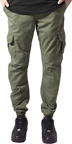 Urban Classics TB1268 Herren Hose - Cargo Jogging Pants, lange Cargohose eng für Männer und Jungen, Grün (Olive), Gr. S