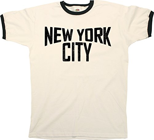 Buzz Shirts New York City Mens Ringer T-Shirt Camiseta para Hombre Retro Style