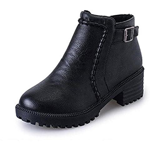 SHIXR Cremallera de modelos Espa?a estilo retro lateral nuevo damas con botas desnuda Martin cargadores cortos , black ,