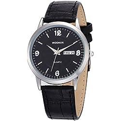 Fashion Leather Strap Calendar Men Quartz Watch Gift For Lover, Black