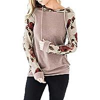 Mxssi Moda Otoño Sudadera con Capucha Impresa con Cordones Superior Estampado Floral Outwear Pullover Blusa Camiseta Hoody Coat Salir Sudadera S-XL