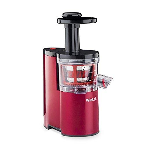 H.Koenig Winkel SX24 Extracteur de jus 0.5L, Rotation Lente, Pression Douce, Compact, Silencieux, Moins de déchets, 200 W, Rouge et Noir