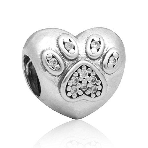 Waya plata colgante huella con corazón Dangle Beads para collar colgante pulseras brazalete cadena de serpiente joyas