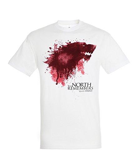 TRVPPY Herren T-Shirt Modell The North Remembers, Weiß, M