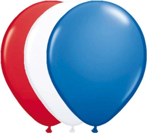 Preisvergleich Produktbild 12 Luftballons * Rot Weiss Blau * für Amerika / USA / Frankreich / Holland - Party // 94cm Umfang // Luftballon Ballons Stars Stripes US Deko Länderparty