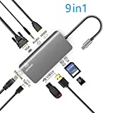 MooSoo USB C Hub,Ethernet,VGA mit Audioausgang,1 USB-C-Anschluss,HDMI,2 USB 3.0 Ports,SD Karten,TF-Kartenleser Aluminium 9-in-1-Typ C Adapter für MacBook Pro, Chromebook,MateBook, Samsung S8.