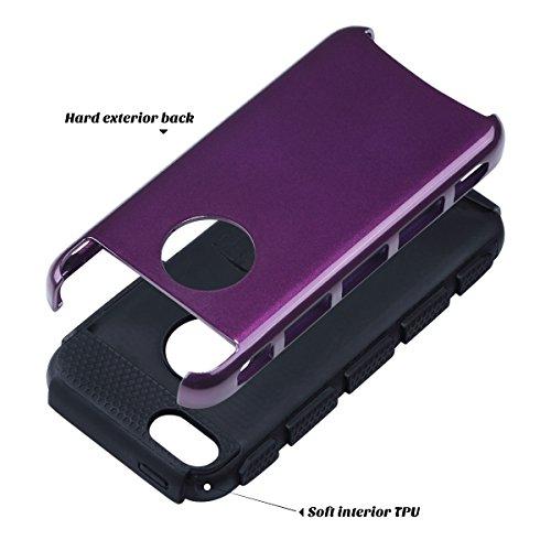 ULAK - iPhone 5C Cover, Case Cover duplice ibrido per iPhone 5C. Cover duro per iPhone 5C stampato Design PC+ Silicone ibrido impatto grande Difensore custodia Combo duro morbido Cases Covers (Blu) Viola + Nero