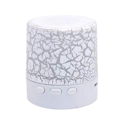 Kanitry Bluetooth-Lautsprecher, tragbar, tragbar, mit Rissmuster, kabellos, Bluetooth-Lautsprecher, LED, blinkender USB-Subwoofer, Lautsprecher, Stereo, Audio, MP3-Player weiß weiß 3.2x3.5cm/1.2x1.3in Component-subwoofer Auto-subwoofer