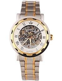 YESURPRISE Uhr Handaufzug Mechanische Uhr Edelstahl Armbanduhr Skelettuhr silber gold weiß