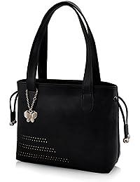 Butterflies Women's Handbag (Black) (BNS 0608BK)