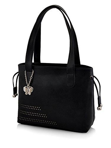 Butterflies Women\'s Handbag (Black) (BNS 0608BK)