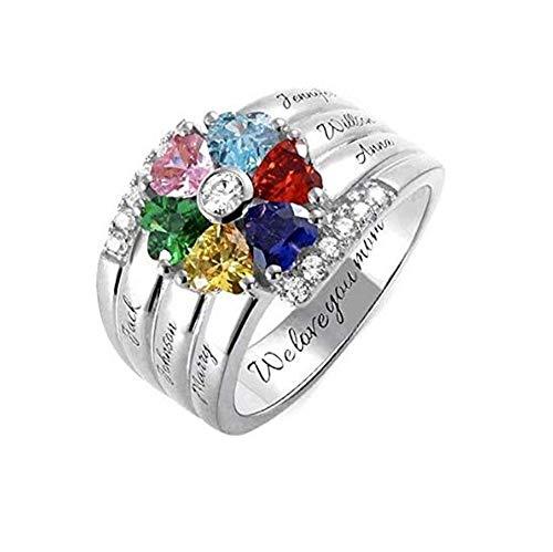 Yanday Personalisierte Mütter Ringe mit 6 simulierten Birthstones Namen Familie Ringe(Silber 17)