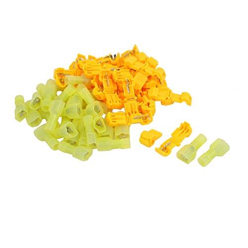 sourcing map 60stk. T5 Kit Schnell Spleißen Elektrisch Anschluss Sortiment Gelb Orange