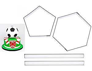 "Sugarcraft & Cake Decorating Cutters -Football Cutters For 6"" Diameter Cake With Instructions And Plastic Rolling Spacers - For Sports Celebration Cakes"