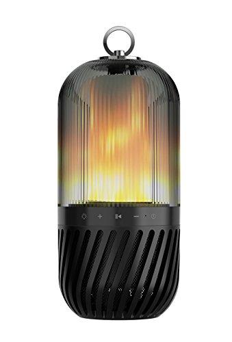 LIGHTEU®, LED-Bluetooth-Lautsprecher, tragbare, kabellose Bluetooth-Stereo-Bässe und Sound Flicker Flame-Atmosphäre-Lampe kompatibel mit iPhone und Android (schwarz)