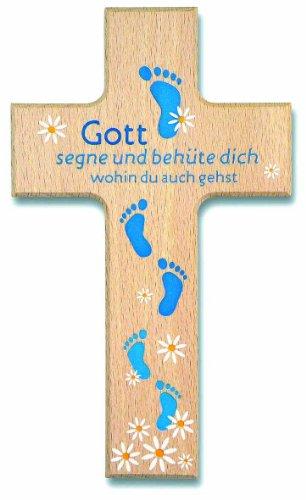 jakopabra °° Kinderkreuz Holzkreuz Gott segne und behüte dich Füße blau
