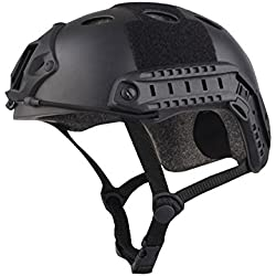 haoYK Multipurpose Sport Casque de Protection Casque Tactique Airsoft Paintball PJ Type Rapide Casque, Noir