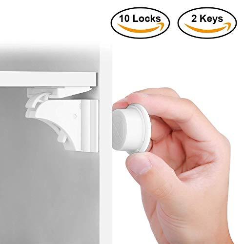BALFER Baby Sicherheit Magnetisches Schrankschloss, die unsichtbare Kindersicherung für Schranktür und Schubladen, ohne Bohren und Schrauben (10 Schlösser + 2 Schlüssel)