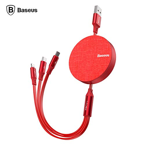 AICase Multi USB Kabel,Universal USB Ladekabel 3 in 1 einziehbares Micro-USB/Typ-C-Phone-Daten-Sync-Ladekabel für iSO Android (Rot) (Usb-blitz-kabel Spule)