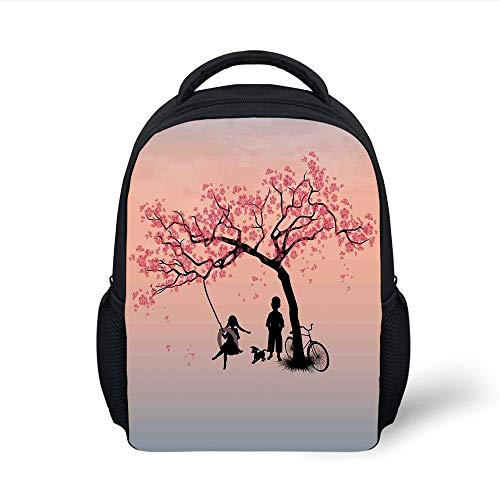 Kids School Backpack Tree of Life,Children Playing on a Tire Swing Under Cherry Tree with Dog Blossom Spring Art,Pink Black Plain Bookbag Travel Daypack