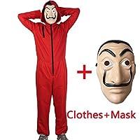 HONGTEYA Halloween Salvador Dali Money Heist Costume & Face Mask La Casa De Papel Mask Masque Mascara de Dali Money Heist (S)