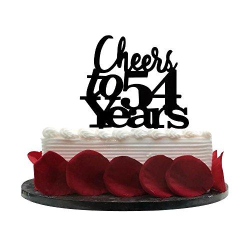 Cheers bis 54Jahren Cake Topper, 54. Geburtstag, Hochzeit, Jahrestag, Ruhestand Party Wimpelkette Schild Dekorationen Foto props-black