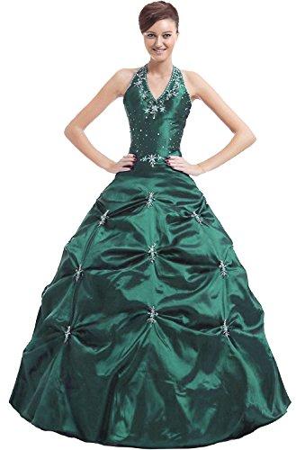 Kmformals Damen Halfter Prom BallKleid Abendkleid Quinceanera Kleider Größe 50 Smaragd Grün