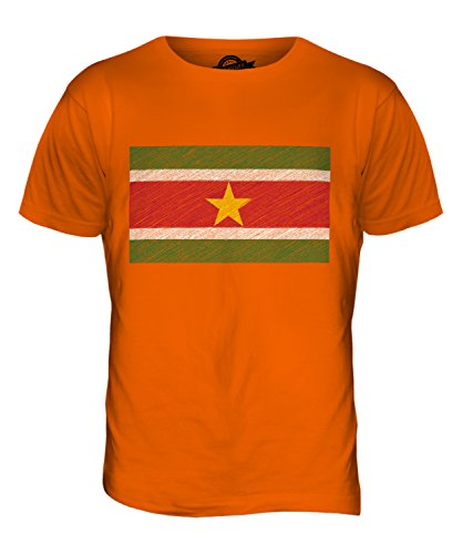 CandyMix Suriname Kritzelte Flagge Herren T Shirt Orange