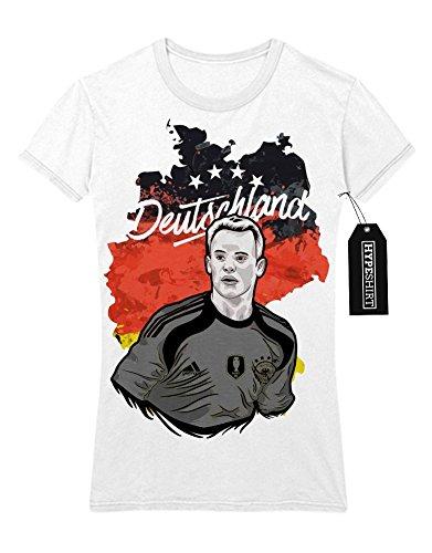 Lady T-Shirt Deutschland Manuel Neuer Fußball EM Europa Meisterschaft UEFA Euro 2016 Trikot M161605 Weiß