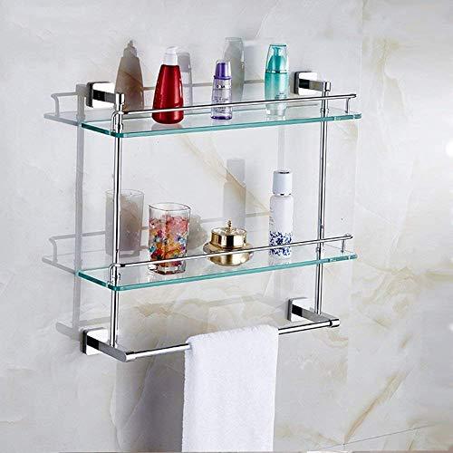 XQY Hochwertiges Küchen-Badezimmer-Regal, Regal-Messinghandtuch-Schienen-Regale Doppelbar-ausgeglichenes Glas-Regal-Zahnstangen-Badezimmer-Hardware-Regal, Das Qualität, Tuch-Zahnstange sichert,48,2 c - Glas-regal-hardware