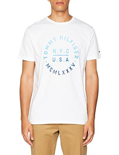 Tommy hilfiger gradient graphic tee, t-shirt uomo, bianco (bright white 100), small