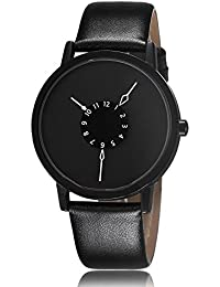 YASHISH New Amazing Black Dial Stylish Leather Strap Black Color Analog Watch For Men & Boys