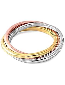 Ring aus Sterlingsilber - Dreifarbiger Drehbarer Ring