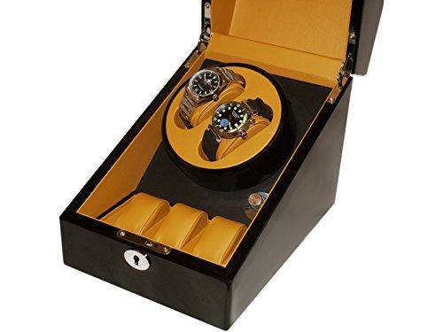 WATCH WINDER (1Motor 2Uhren) Black Brown Box Bewegung Uhren AUTOMATICOS