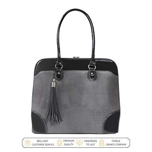BFB Laptop Tragetaschen für Frauen-33cm Laptop-Umhängetasche-Designer Handgefertigte Handtasche-Qualität, DASS 's Made to Last grau anthrazit (Faux-leder-aktenkoffer-tasche)