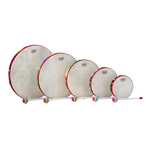 REMO Frame Drum Kids Percussion, Rahmentrommel-Set, Fabric Rain Forest, 6